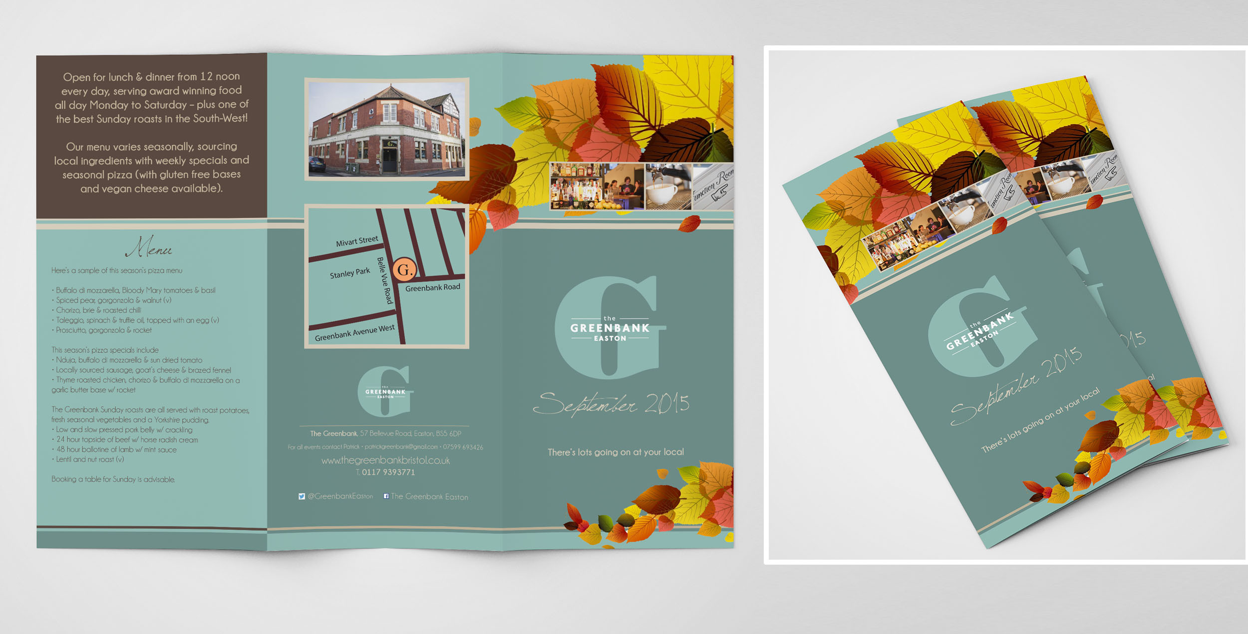 In-three menu/brochure Greenbank Bristol
